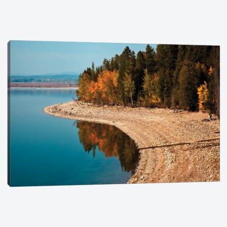 Autumn Shoreline Landscape, Jackson Lake, Grand Teton National Park, Wyoming, USA Canvas Print #LDI3} by Larry Ditto Canvas Wall Art