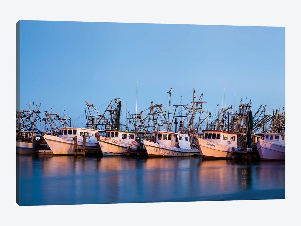 Fulton Harbor and oyster boats by Larry Ditto 1-piece Canvas Art Print