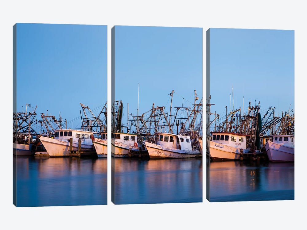 Fulton Harbor and oyster boats by Larry Ditto 3-piece Canvas Art Print