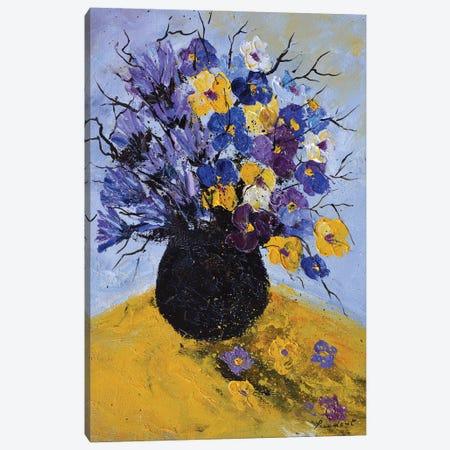 Pansies and cornflowers Canvas Print #LDT109} by Pol Ledent Canvas Art Print