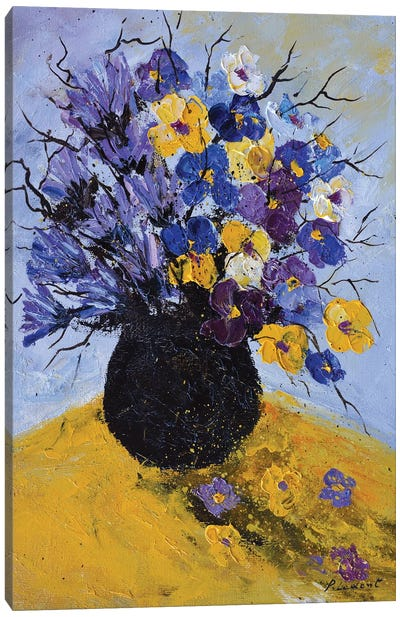 Pansies and cornflowers Canvas Art Print