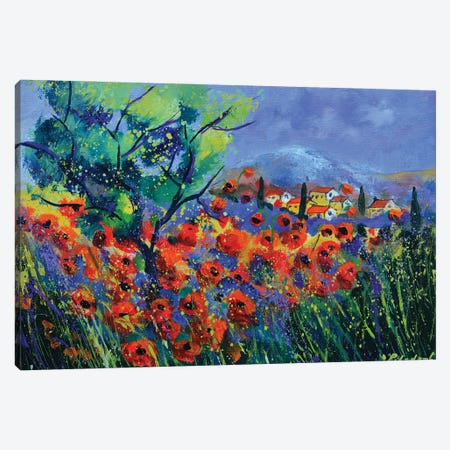 Red poppies in Provence  - 541120 Canvas Print #LDT121} by Pol Ledent Art Print