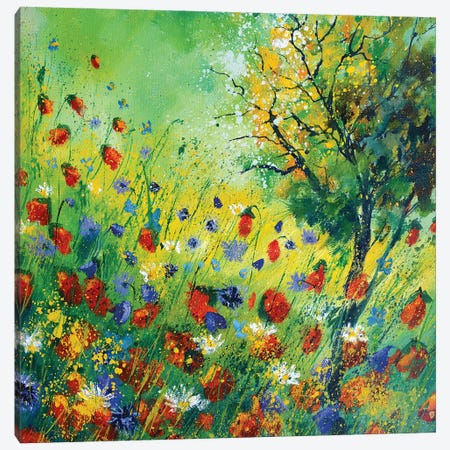 Poppies And Cornflowers Canvas Print #LDT19} by Pol Ledent Canvas Art