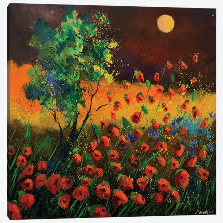 Red Poppies At Moonshine Canvas Print #LDT23} by Pol Ledent Art Print