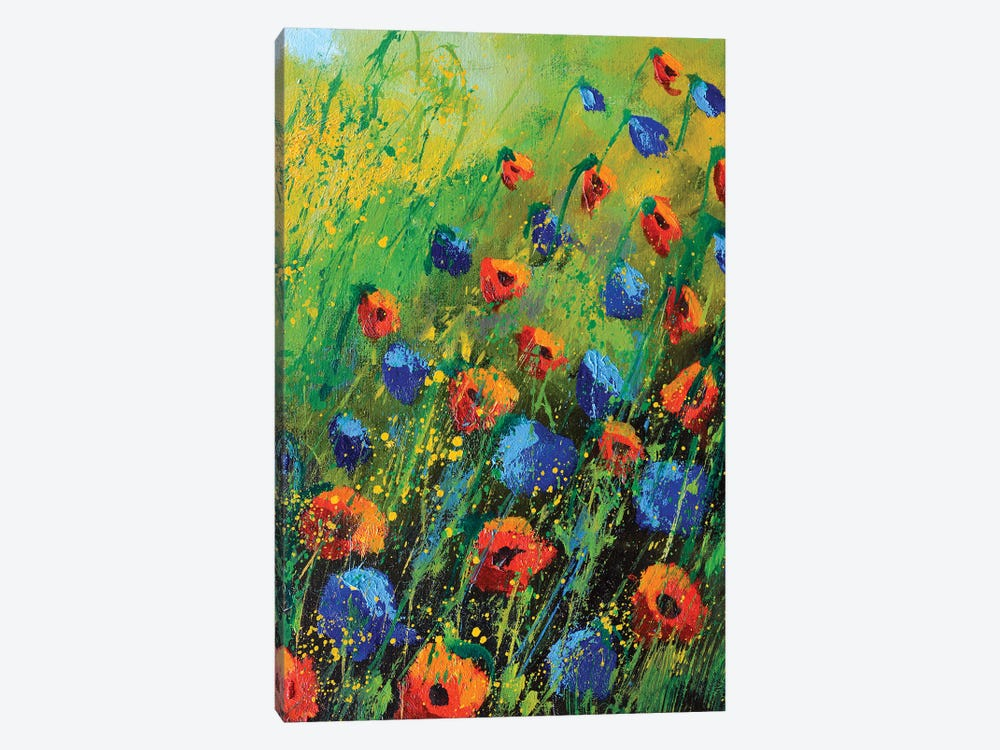 Red And Blue Poppies - 34 by Pol Ledent 1-piece Canvas Wall Art