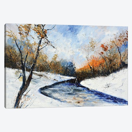 River In Winter Canvas Print #LDT253} by Pol Ledent Art Print