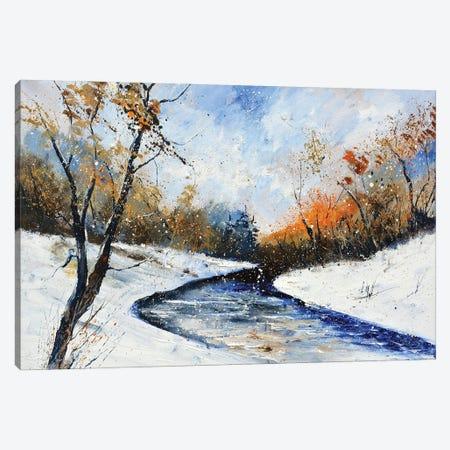 River In Winter Canvas Print #LDT253} by Pol Ledent Art Print