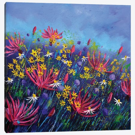 Pink Cornflowers Canvas Print #LDT25} by Pol Ledent Canvas Wall Art