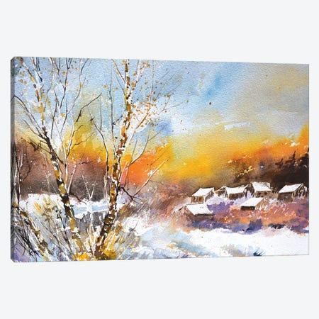 A Few Houses In Winter Canvas Print #LDT272} by Pol Ledent Art Print
