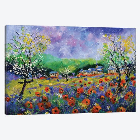 Poppies In Houroy Canvas Print #LDT2} by Pol Ledent Canvas Artwork