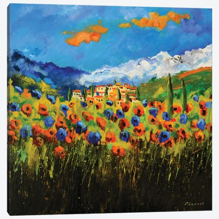 Poppies In Tuscany Canvas Print #LDT30} by Pol Ledent Canvas Wall Art
