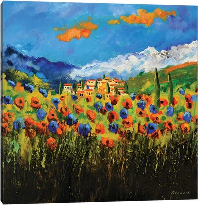 Poppies In Tuscany Canvas Art Print