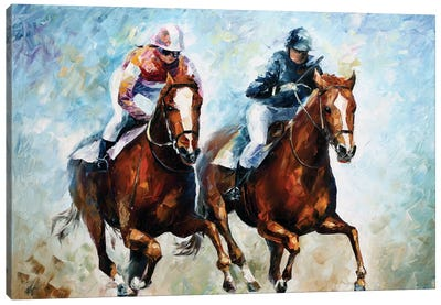 Close Race Canvas Art Print