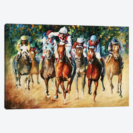 Horse Race Canvas Print #LEA120} by Leonid Afremov Canvas Wall Art