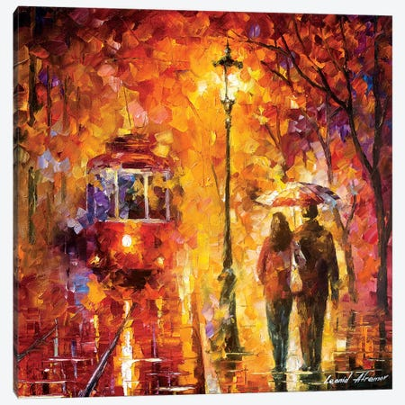 Date By The Trolley 3-Piece Canvas #LEA144} by Leonid Afremov Canvas Print