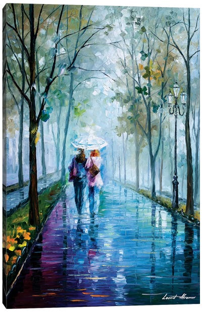 Foggy Stroll Canvas Art Print