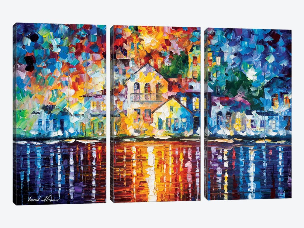 Sleepy Harbor by Leonid Afremov 3-piece Canvas Print