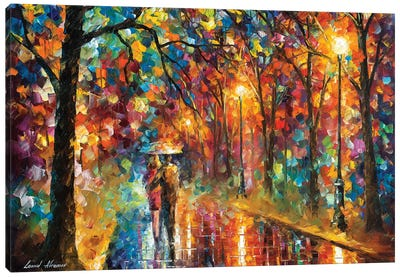 Walking In The Rain Canvas Art Print