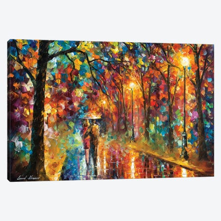 Walking In The Rain 3-Piece Canvas #LEA183} by Leonid Afremov Canvas Art
