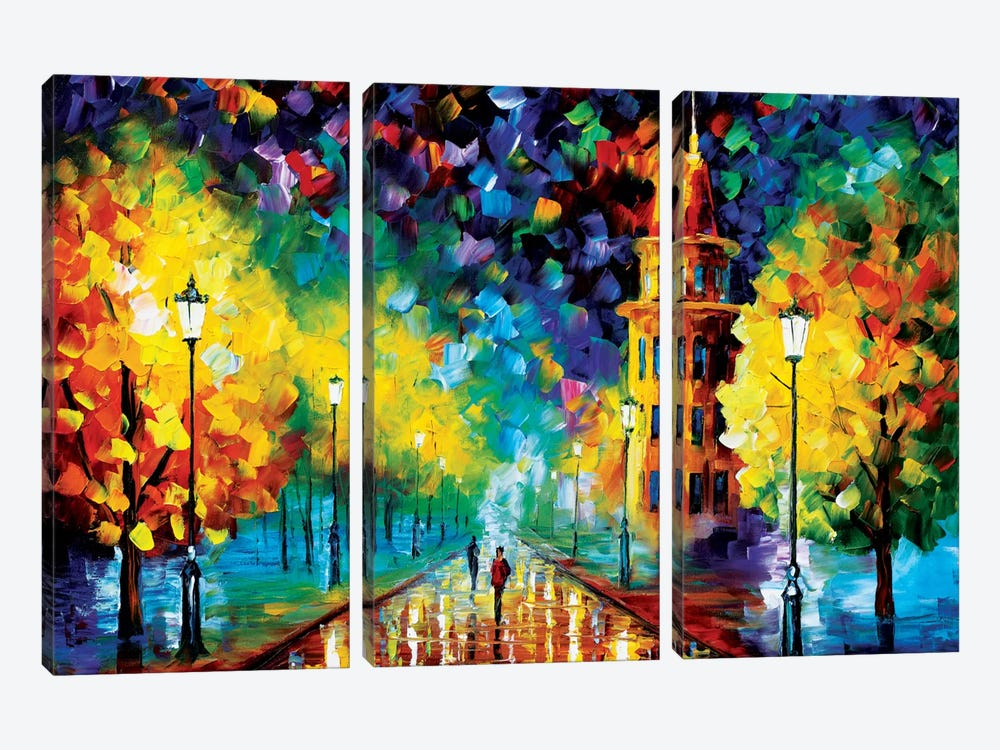Gold Winter by Leonid Afremov 3-piece Canvas Artwork