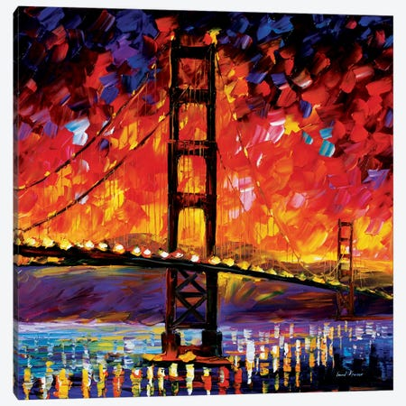 Golden Gate Bridge Canvas Print #LEA28} by Leonid Afremov Canvas Art Print