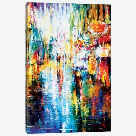 Heavy Downpour Canvas Print #LEA30} by Leonid Afremov Canvas Wall Art