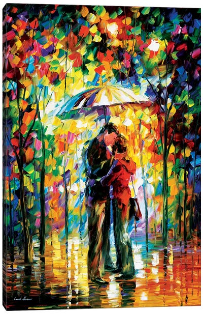 Kiss In The Park Canvas Art Print