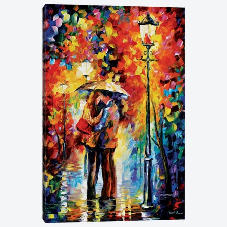 Kiss Under The Rain Canvas Print #LEA36} by Leonid Afremov Art Print