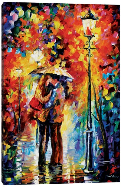Kiss Under The Rain Canvas Art Print