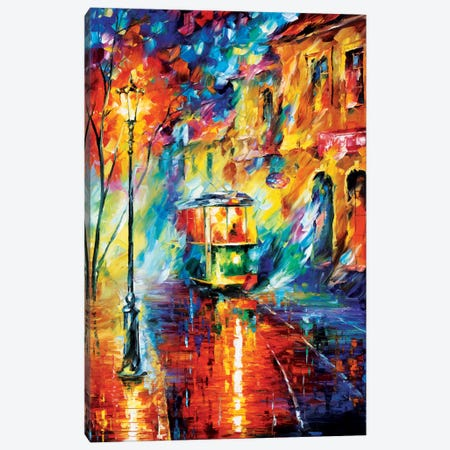 Night Trolley Canvas Print #LEA54} by Leonid Afremov Art Print