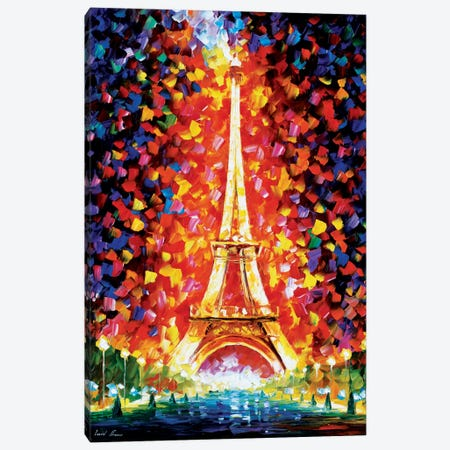 Paris - Eifel Tower Lighted Canvas Print #LEA55} by Leonid Afremov Canvas Art Print