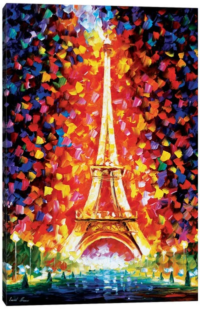 Paris - Eiffel Tower Lighted Canvas Art Print