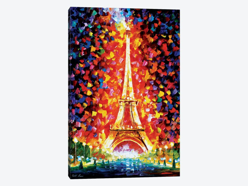 Paris - Eifel Tower Lighted by Leonid Afremov 1-piece Canvas Art Print
