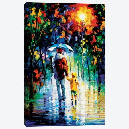 Rainy Walk With Daddy Canvas Print #LEA68} by Leonid Afremov Canvas Print