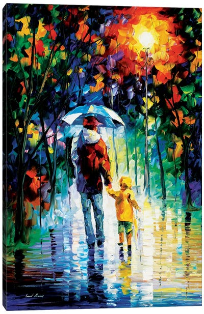 Rainy Walk With Daddy Canvas Art Print
