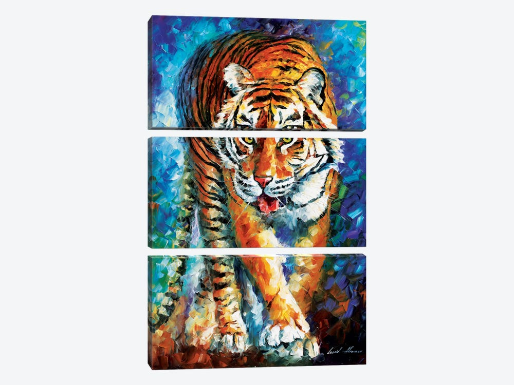 Scary Tiger by Leonid Afremov 3-piece Canvas Artwork