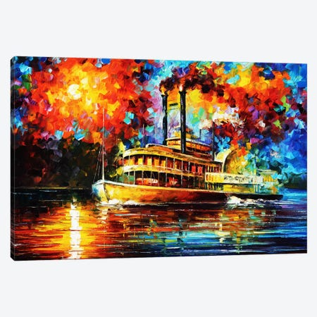 Steamboat Canvas Print #LEA79} by Leonid Afremov Canvas Wall Art