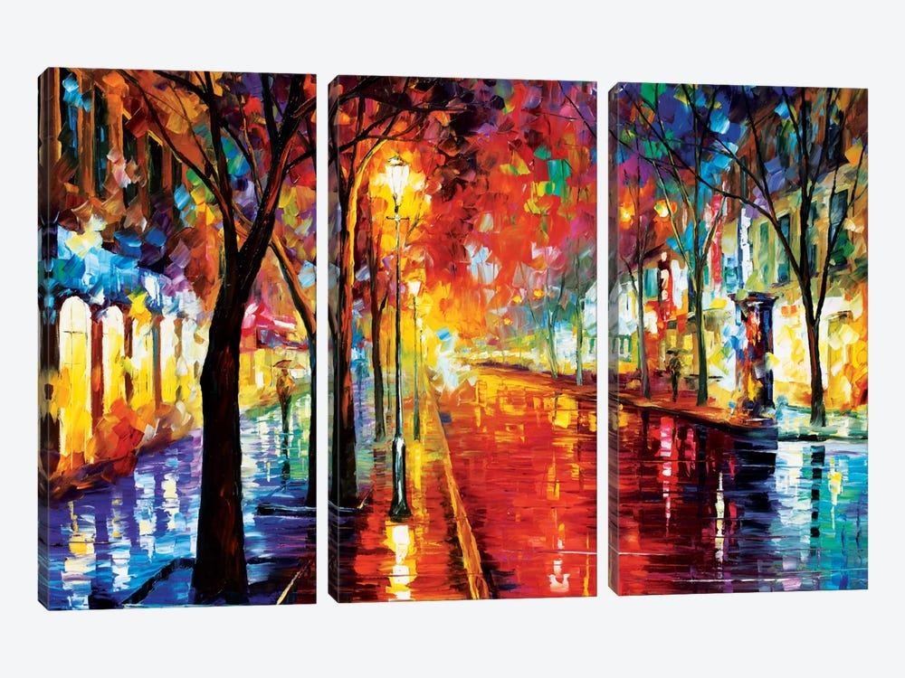 Street Of The Old Town by Leonid Afremov 3-piece Art Print