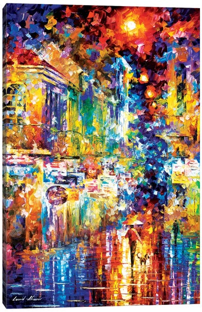 Strolling With A Dog Canvas Print #LEA82