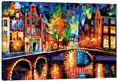 The Bridges Of Amsterdam by Leonid Afremov Canvas Artwork