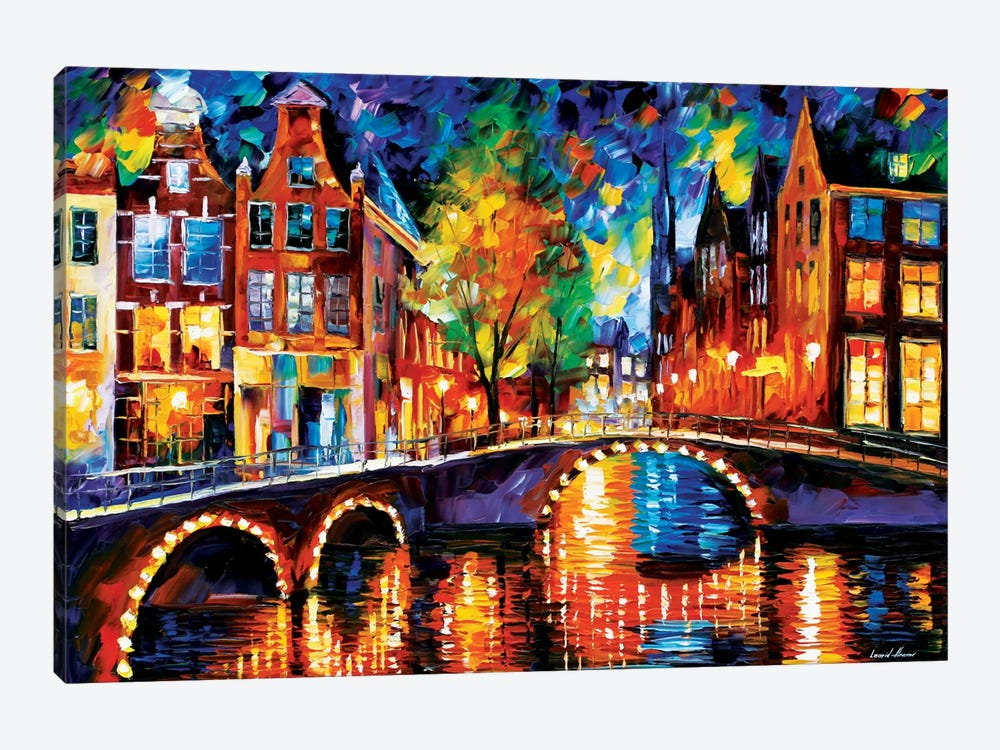 The Bridges Of Amsterdam by Leonid Afremov 1-piece Canvas Art