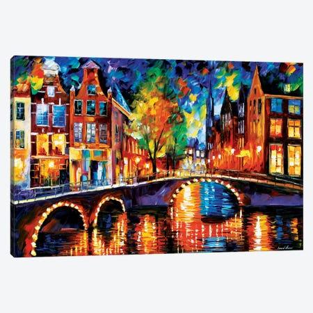 The Bridges Of Amsterdam Canvas Print #LEA87} by Leonid Afremov Canvas Artwork