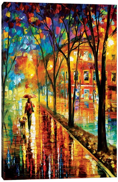 Walk With Dog Canvas Art Print