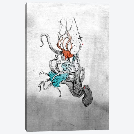 Alice And The Octopus Canvas Print #LEC1} by Lewis Campbell Canvas Art Print