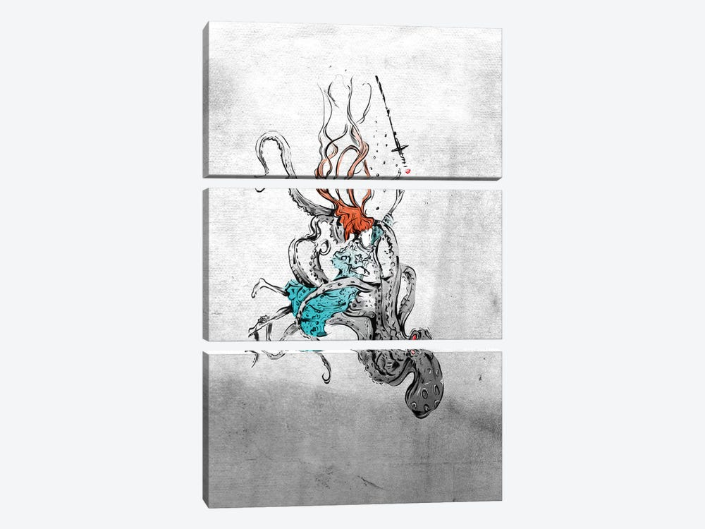 Alice And The Octopus by Lewis Campbell 3-piece Canvas Wall Art