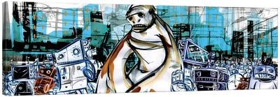 Monkey Boy And The Robots Canvas Art Print