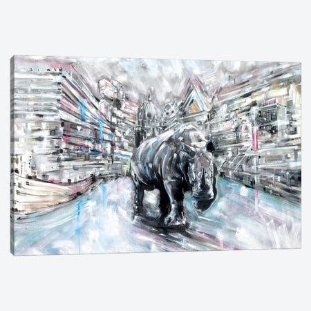 Rhino Canvas Print #LEC26} by Lewis Campbell Canvas Artwork