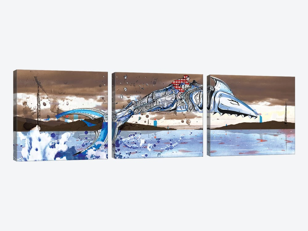 Shark Jockey by Lewis Campbell 3-piece Canvas Art
