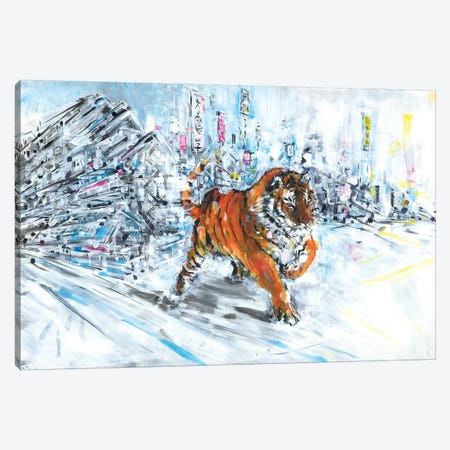 Tiger In Snow Canvas Print #LEC36} by Lewis Campbell Canvas Print