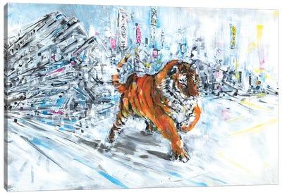 Tiger In Snow Canvas Art Print